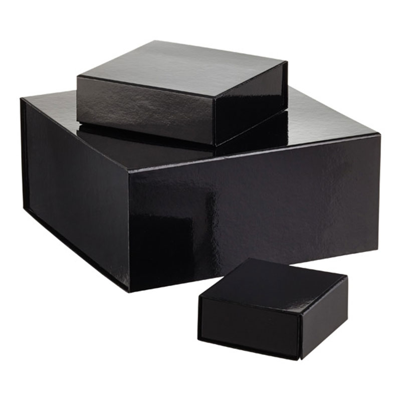 Luxury Black Paper Gift Packaging Flat Pack Collapsible Folding Magnetic Box