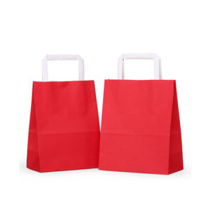 Recyclable Handbags Luxury Plain Kraft Paper Gift Bags with Flat Handle