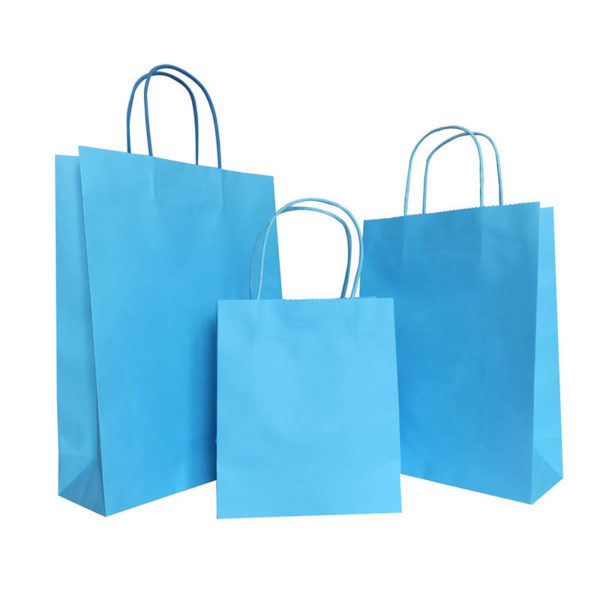 Custom Printed Handbags Recycle Shopping Gift White Kraft Paper Bag with Paper Handle Plain Color