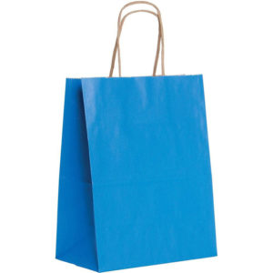 Blue kraft paper bag with embossing line