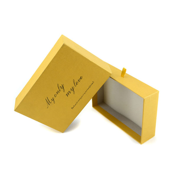 Rigid Paper Drawer Gift Box Packaging Ribbon for Closure Full Printing in Pantone Color Matt Cello