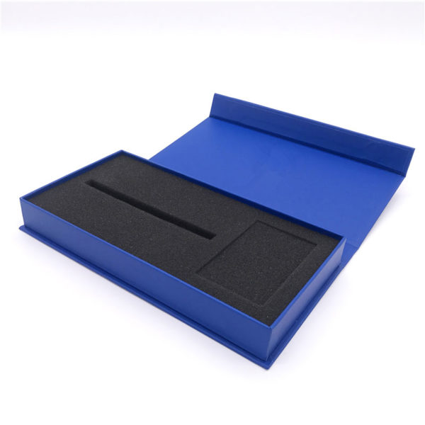 Rigid Cardboard Magnetic Book Shaped Packaging Paper Gift Box with Foam Insert