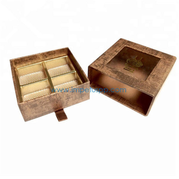 Wholesale Chocolate Packaging Drawer Gift Box Wrapping with Fancy Paper and Pet Tray Inlay
