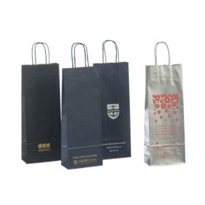 Custom Printed Gift Packaging Luxury Branded Stone Kraft Paper Wine Bags Handbags