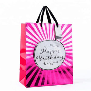 Custom Printing Luxury Glossy Laminated Handbags Carrier Paper Gift Bags with Hang Tags