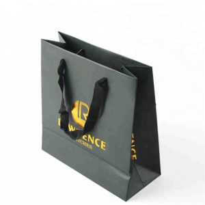 Wholesale Custom Handbags Luxury Black Gift Shopping Paper Bag with Hot Stamping Logo and All Over DOT Embossing