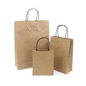 Custom Printed Brown Kraft Paper Gift Christmas Handbags Packaging Bag