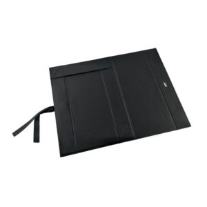 Hot Stamping Logo Luxury Black Book Shaped Foldable Magnetic Paper Gift Packaging Box
