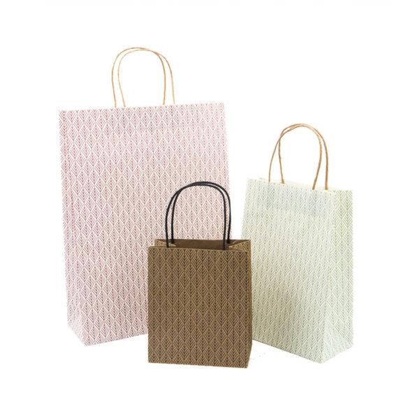 Recycled Fashion Handle Handbags Custom White Kraft Gift Paper Bag with Your Logo