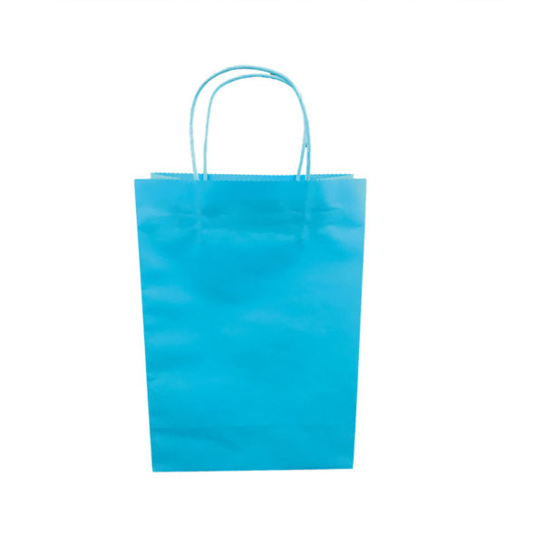 Plain blue kraft bags in stock