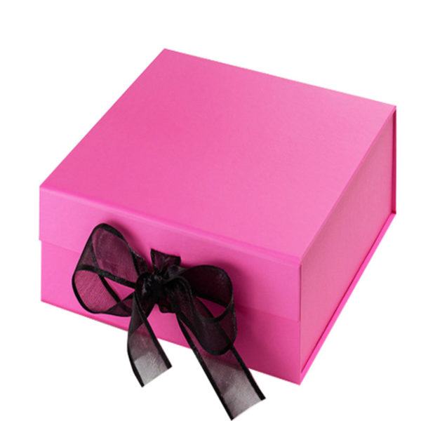 Plain Magnet Folding Paper Flat Pack Packaging Box Luxury Magnetic Gift Box with Ribbon Closure