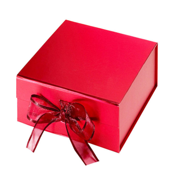 Custom Plain Red Magnet Folding Paper Flat Pack Packaging Box Luxury Magnetic Gift Box with Ribbon Closure