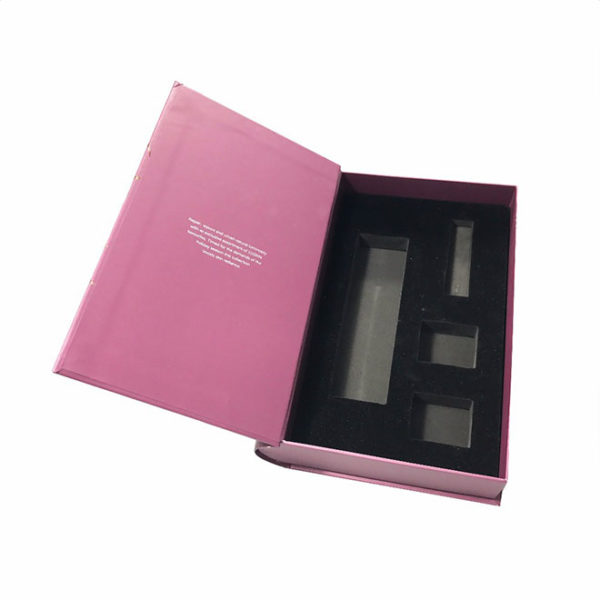 Customized Book Shape Cosmetic Paper Packaging Gift Box with EVA Insert and Magnetic