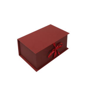 Manufacturer Custom Cardboard Book Shaped Gift Packaging Box with Ribbon Closure